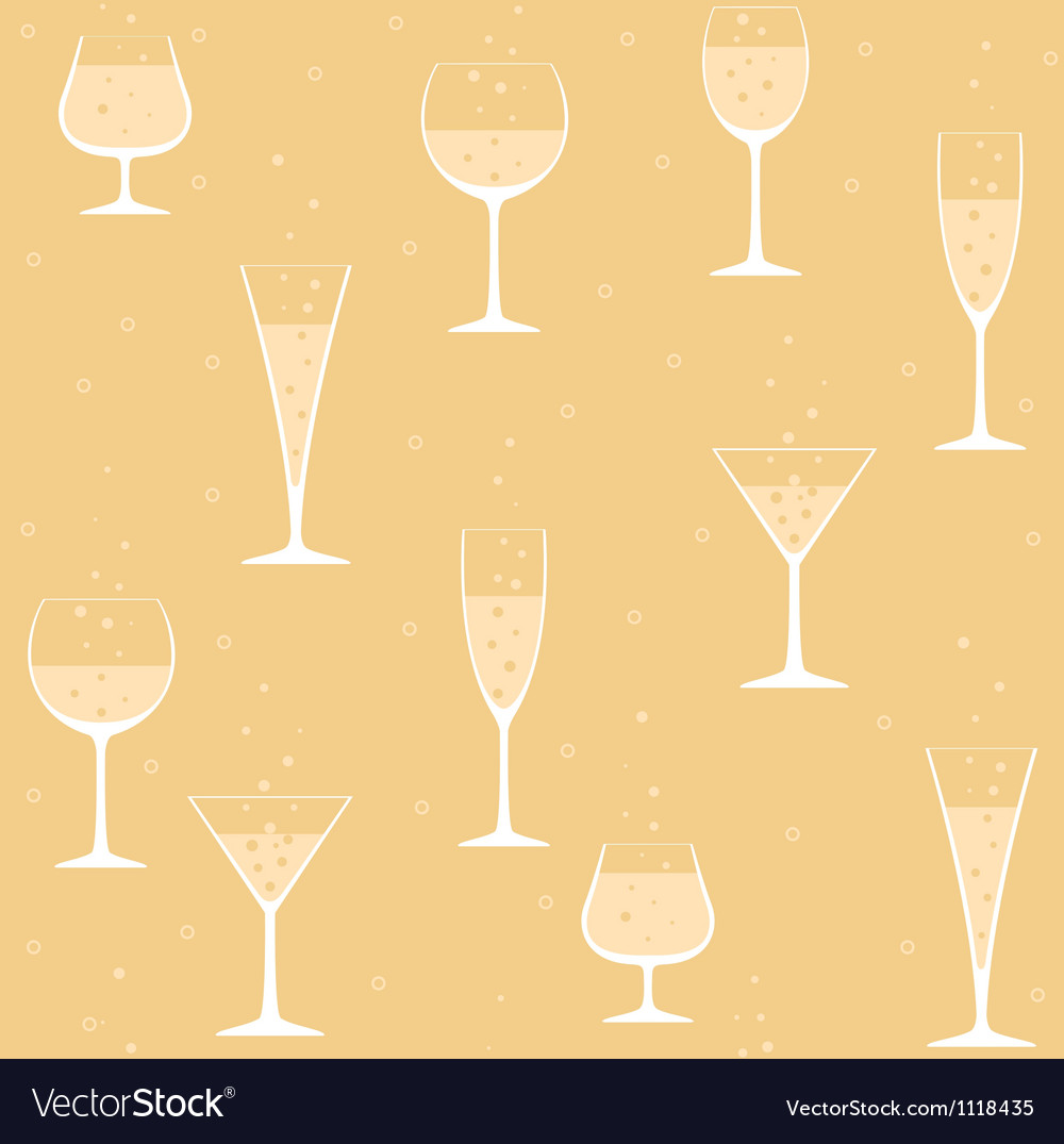 Wine glasses with champagne on yellow background vector | Price: 1 Credit (USD $1)
