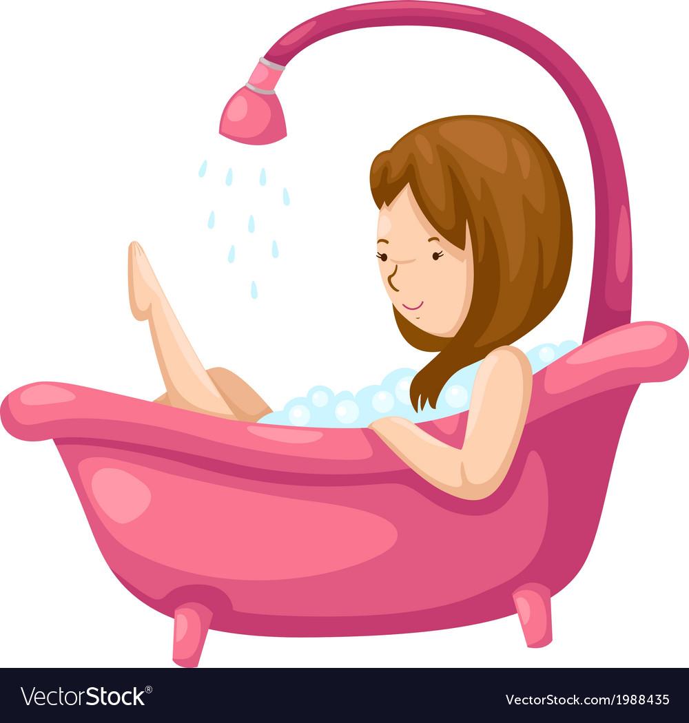 Woman bathing in bathtub vector   Price: 1 Credit (USD $1)