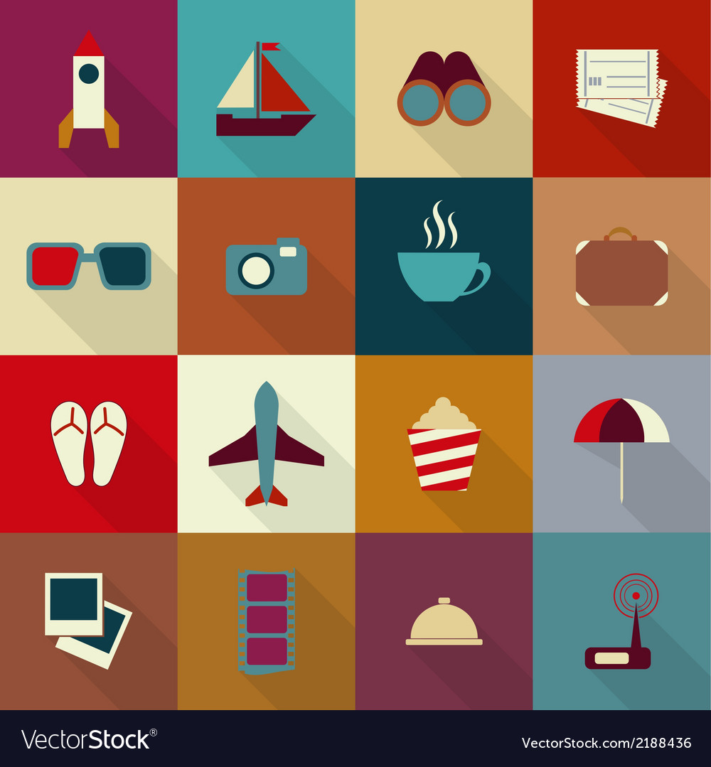 16 flat travel icons with shadow vector | Price: 1 Credit (USD $1)