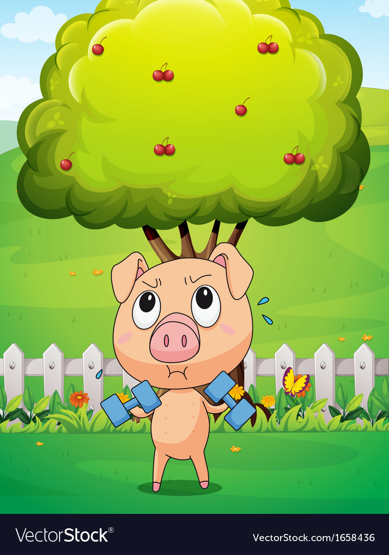 A fat pig exercising near the cherry tree vector | Price: 3 Credit (USD $3)