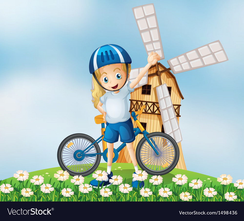 A female biker standing at the hilltop with a vector   Price: 1 Credit (USD $1)
