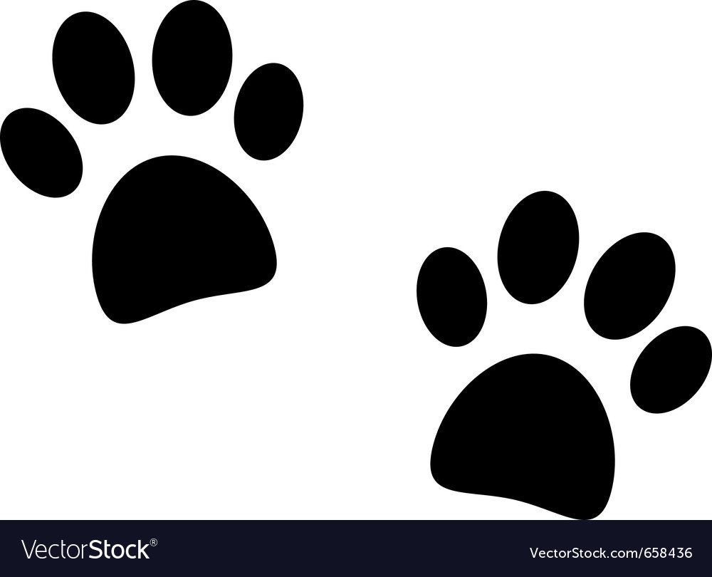 Black paw print on white vector | Price: 1 Credit (USD $1)