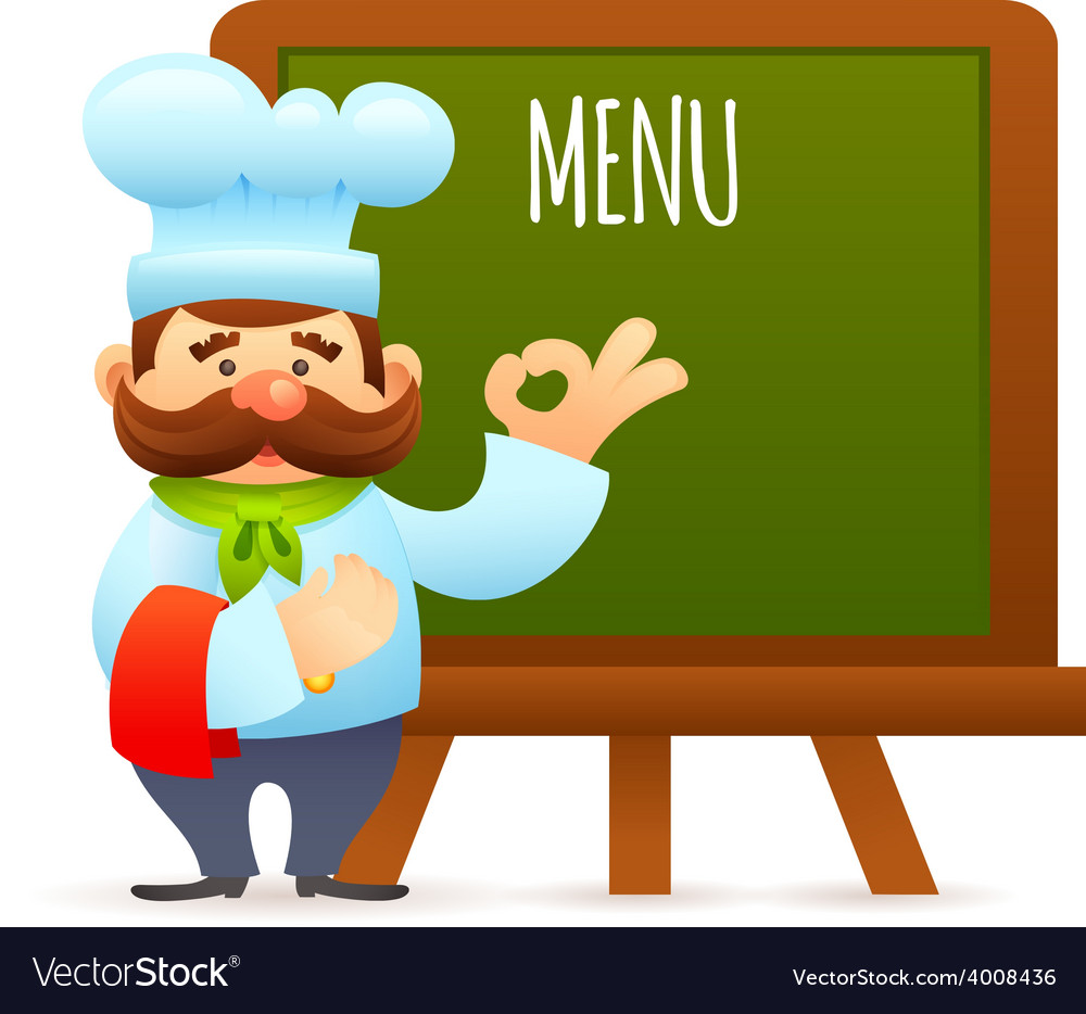 Chef with menu board vector | Price: 1 Credit (USD $1)