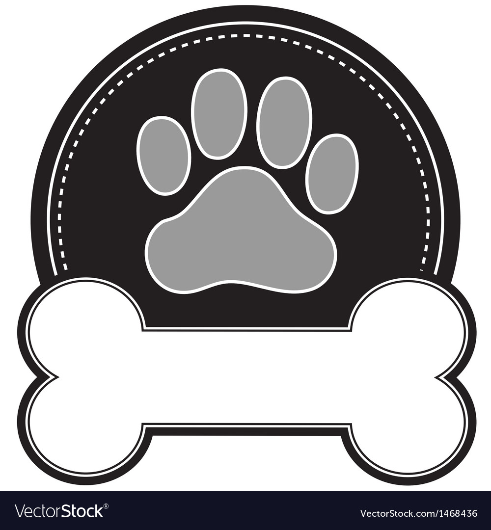 Dog bone and paw vector | Price: 1 Credit (USD $1)