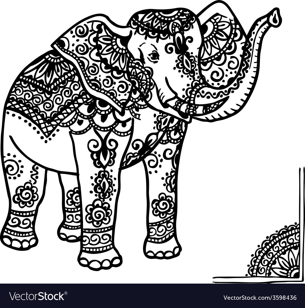 Elephant and mehendi ornament vector | Price: 1 Credit (USD $1)