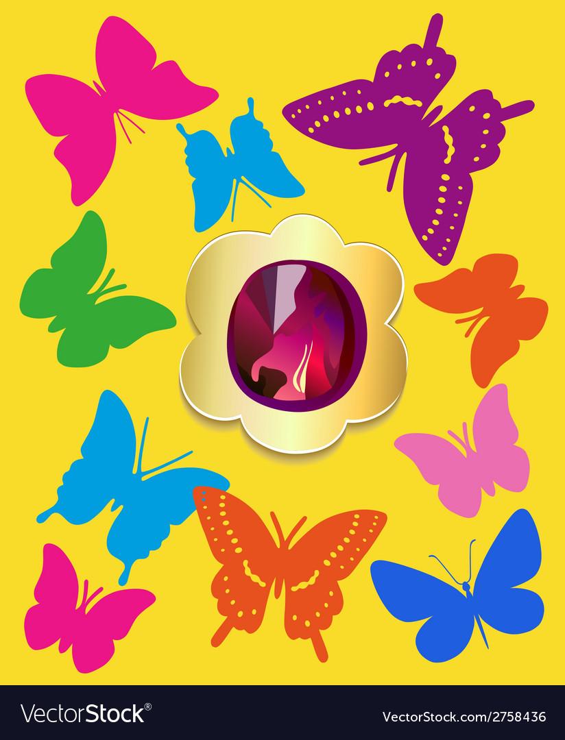 Flat gemstone butterflies background vector   Price: 1 Credit (USD $1)