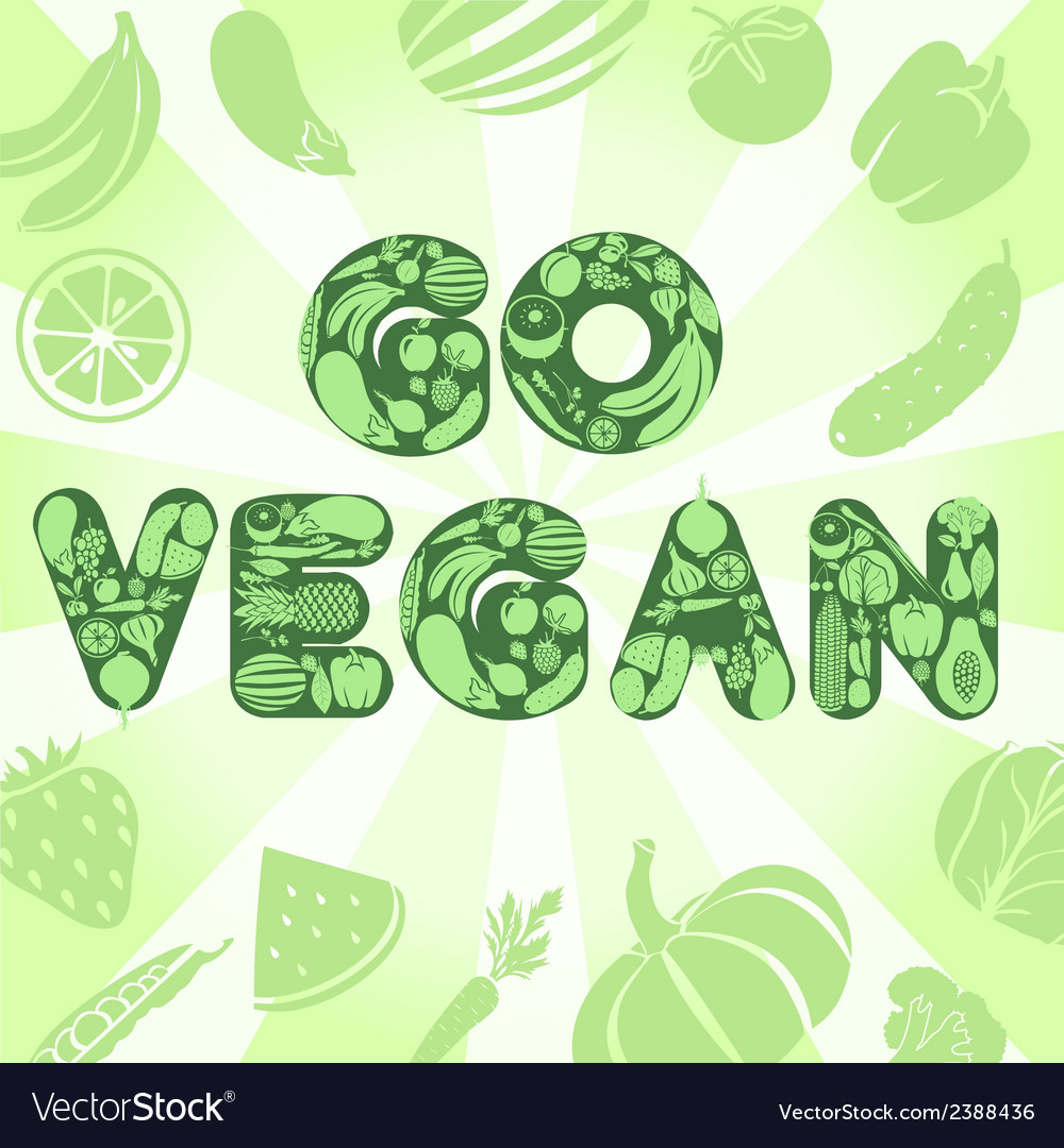 Go vegan poster vector | Price: 1 Credit (USD $1)