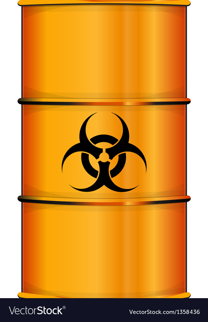 Orange barrel with bio hazard sign vector | Price: 1 Credit (USD $1)