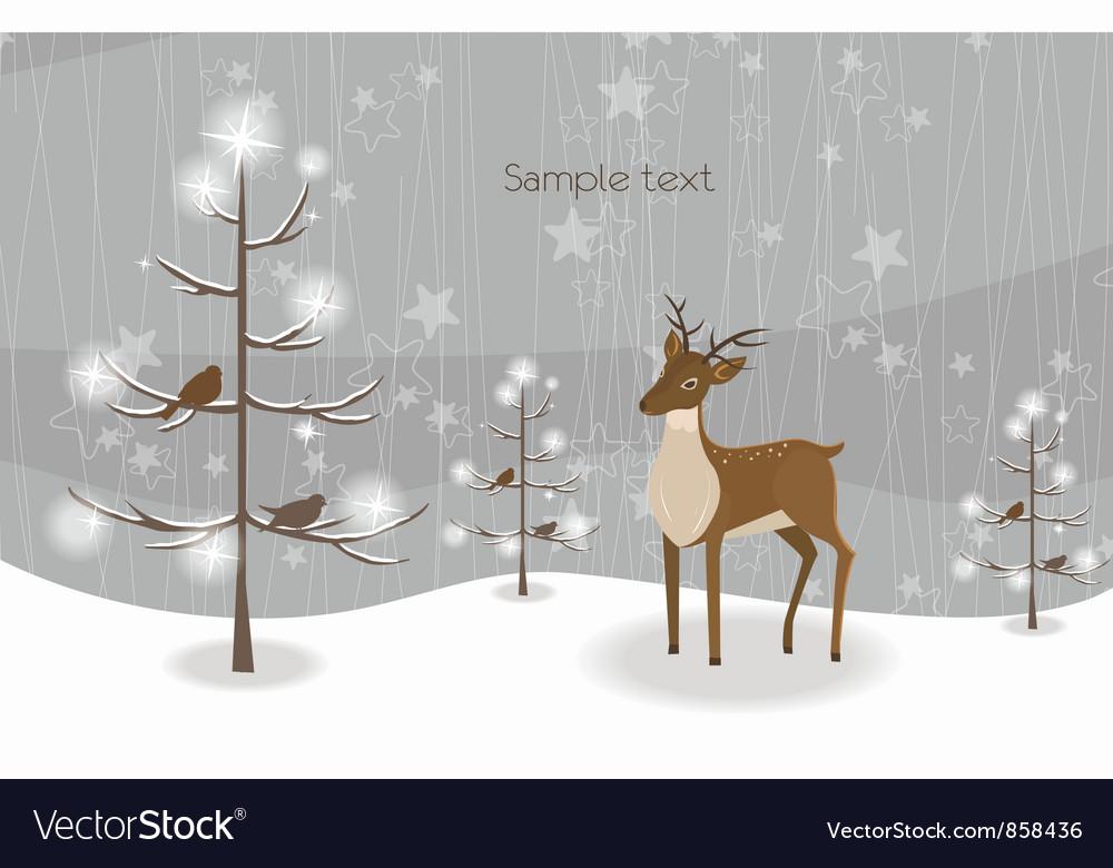 Reindeer with tree vector