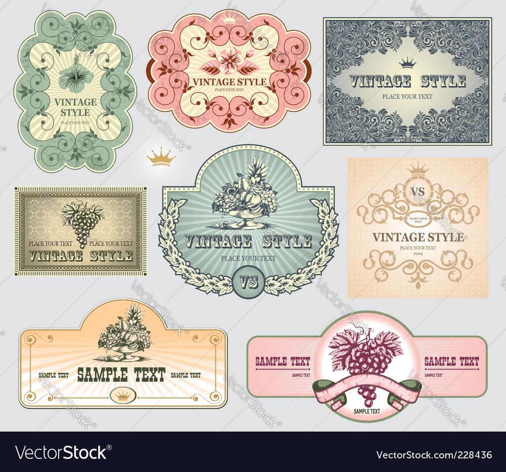 Vintage label set vector | Price: 1 Credit (USD $1)