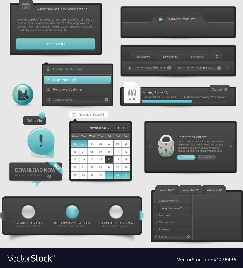 Website template ui elements vector | Price: 1 Credit (USD $1)
