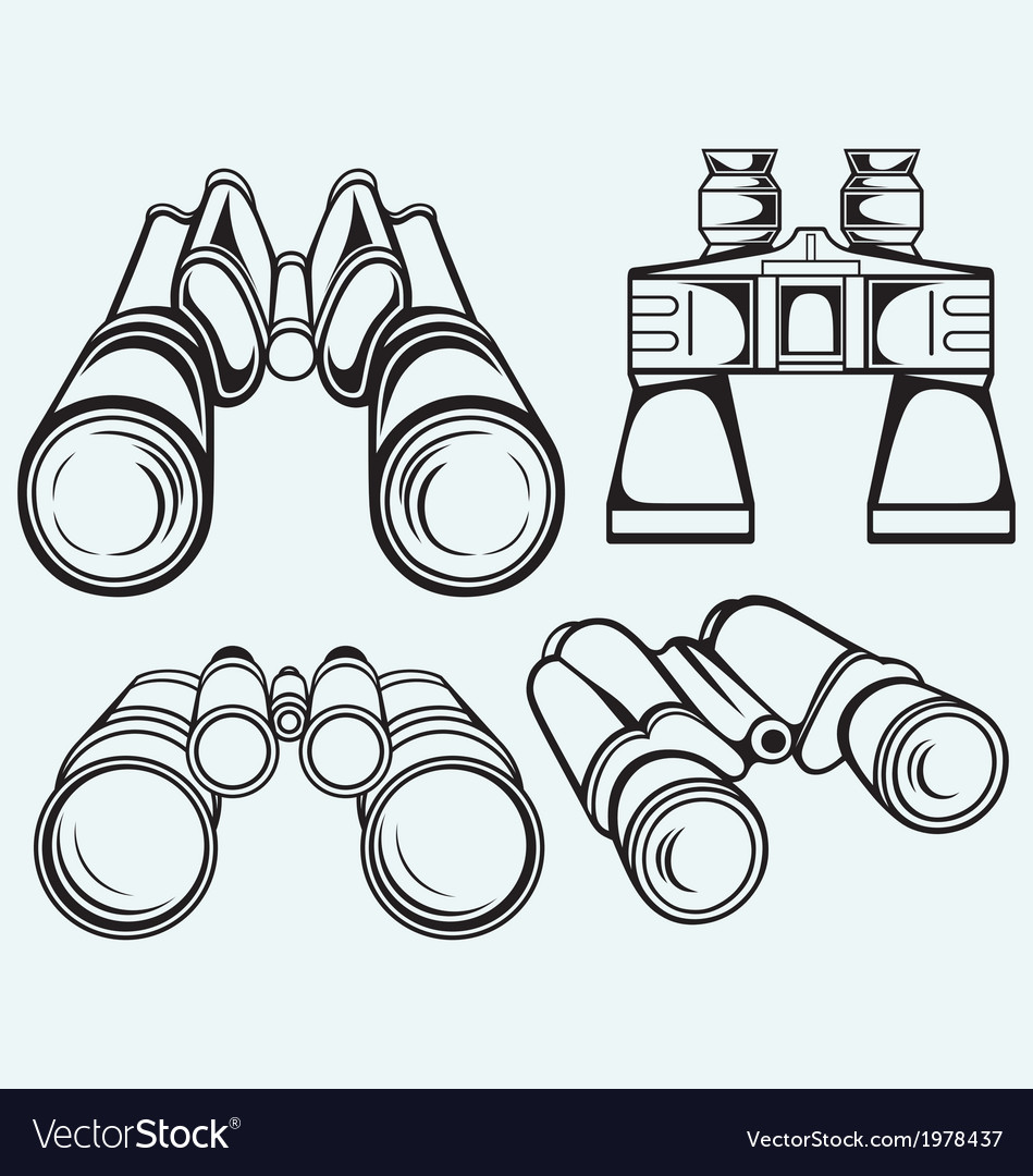 Binoculars set icon vector | Price: 1 Credit (USD $1)