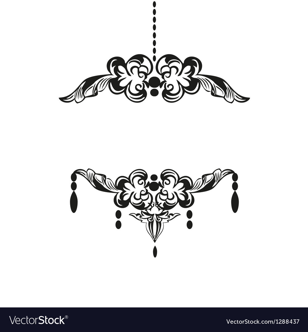 Black chandelier silhouette with candles vector | Price: 1 Credit (USD $1)