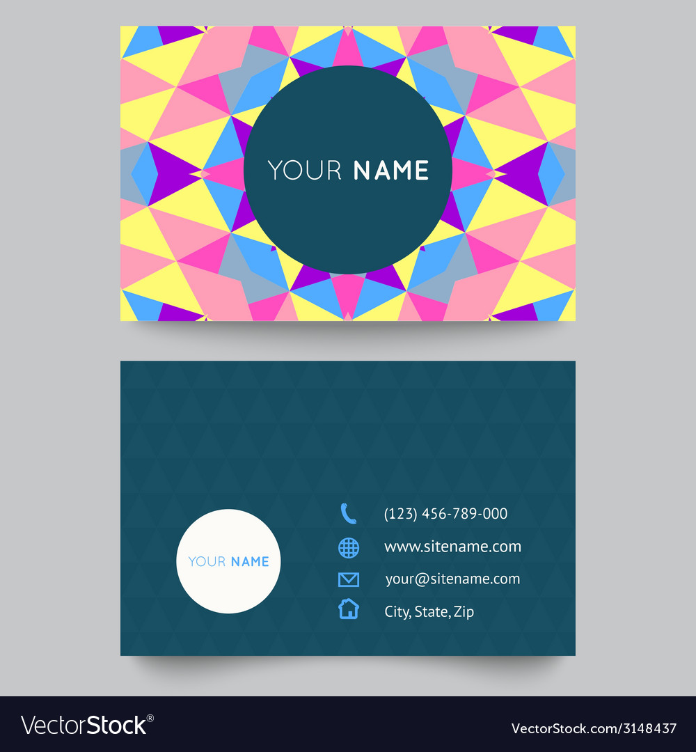 Business card template abstract colorful geometric vector | Price: 1 Credit (USD $1)