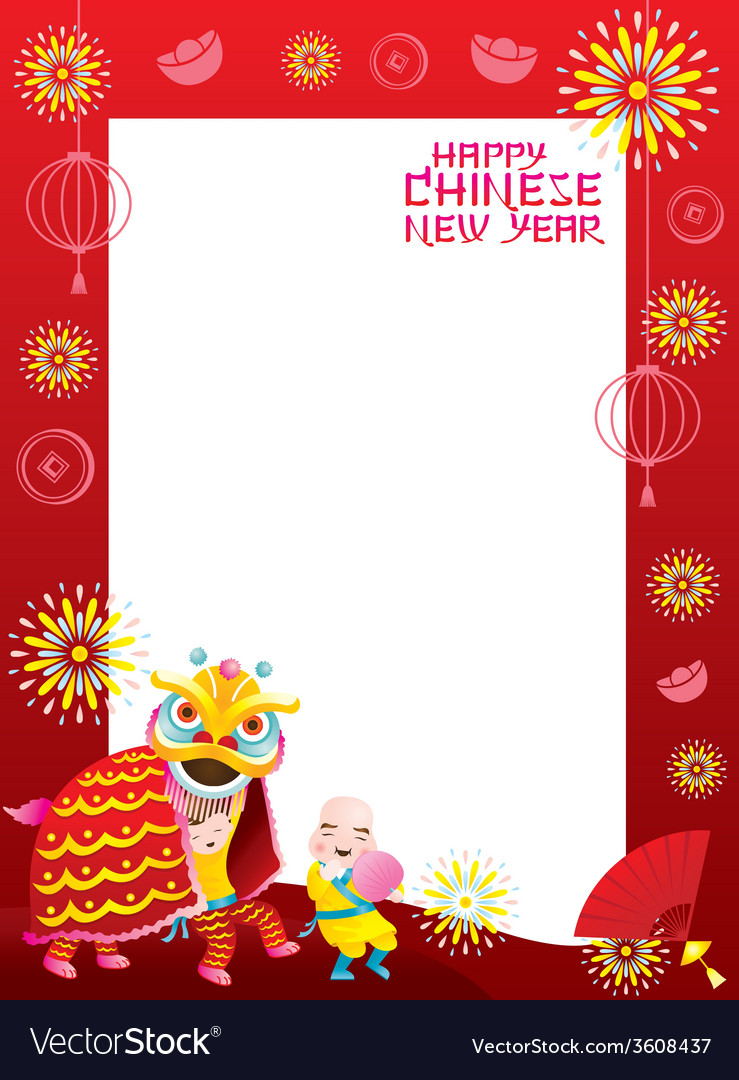 Chinese new year frame with lion dancing vector | Price: 1 Credit (USD $1)