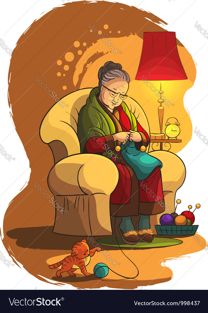 Grandmother sitting in armchair and knitting vector | Price: 5 Credit (USD $5)