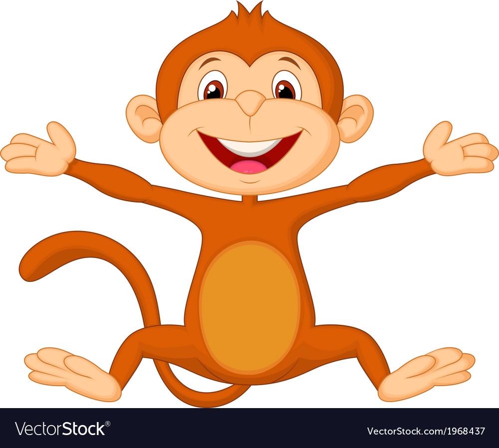 Happy monkey cartoon vector   Price: 1 Credit (USD $1)