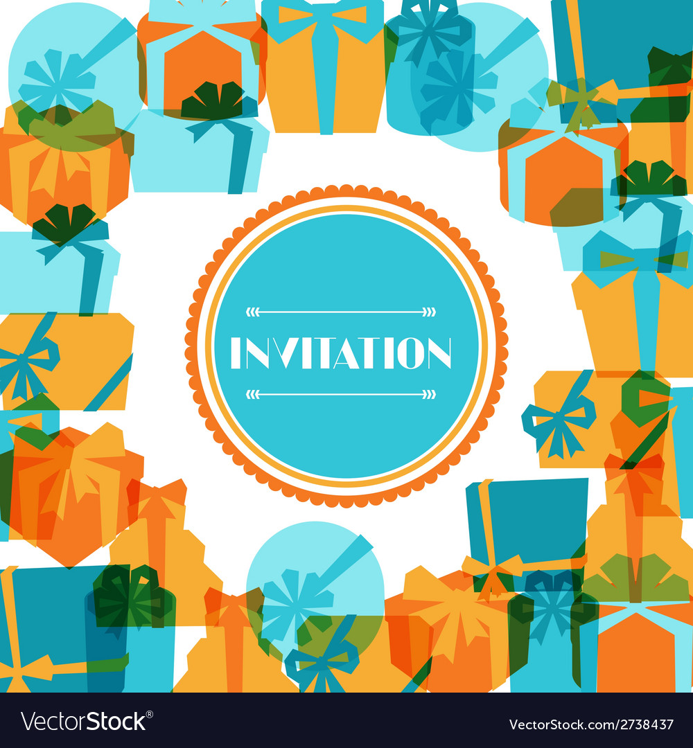 Invitation background or card with colorful gift vector | Price: 1 Credit (USD $1)
