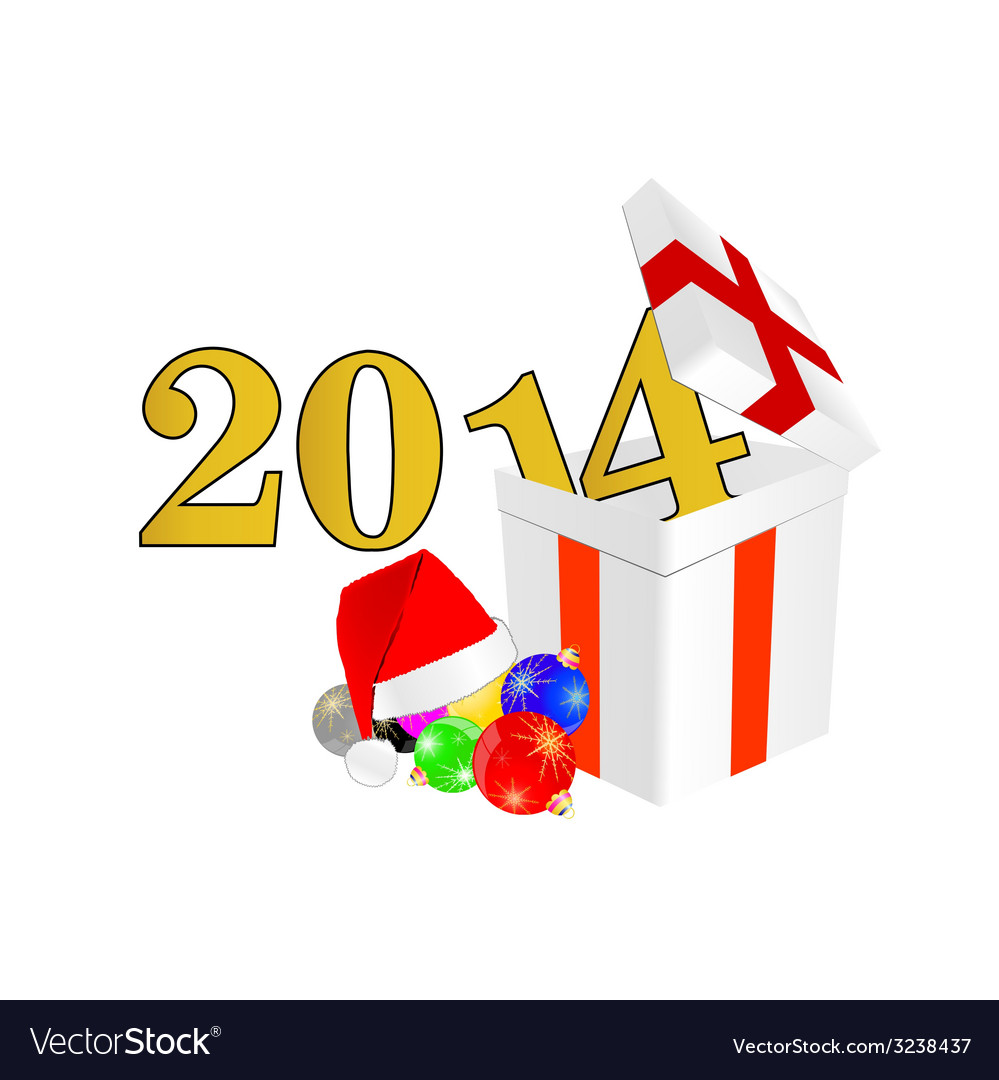 New 2014 year with christmas ball and suprise vector | Price: 1 Credit (USD $1)