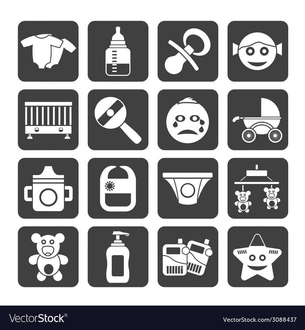 Silhouette baby and toys icons vector | Price: 1 Credit (USD $1)