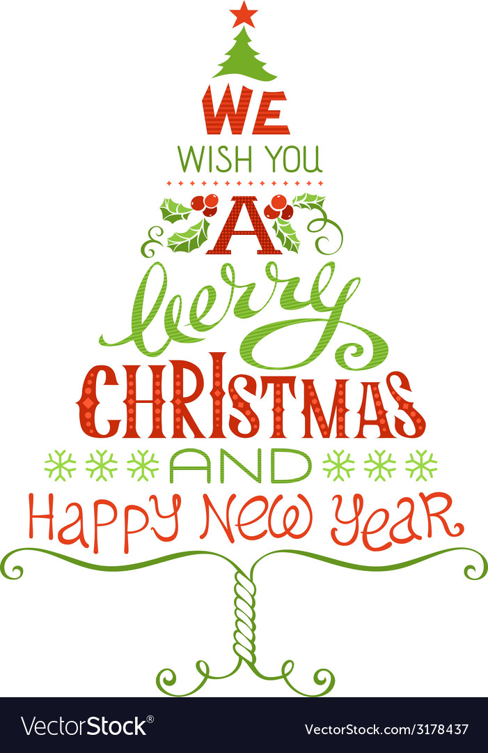 We wish you a merry christmas and happy new year vector | Price: 1 Credit (USD $1)
