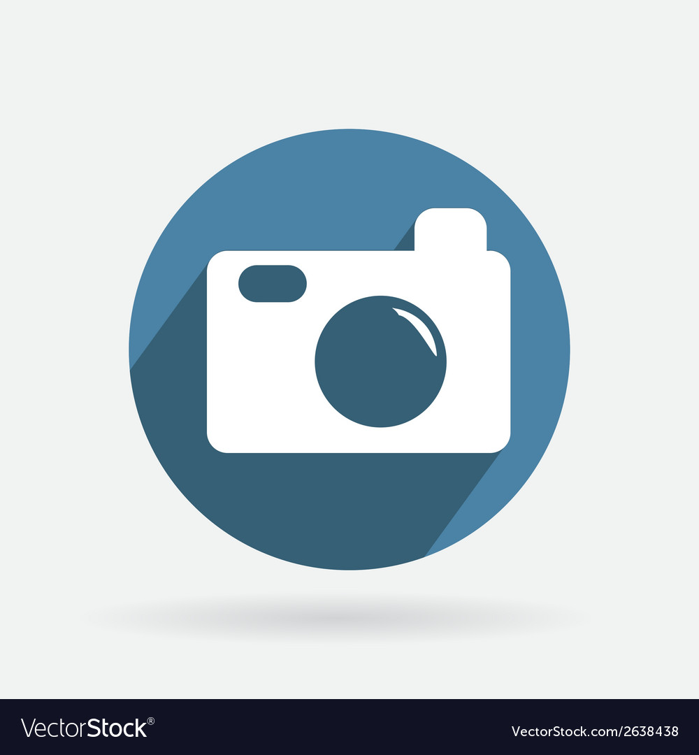 Circle blue icon with shadow photo camera vector | Price: 1 Credit (USD $1)