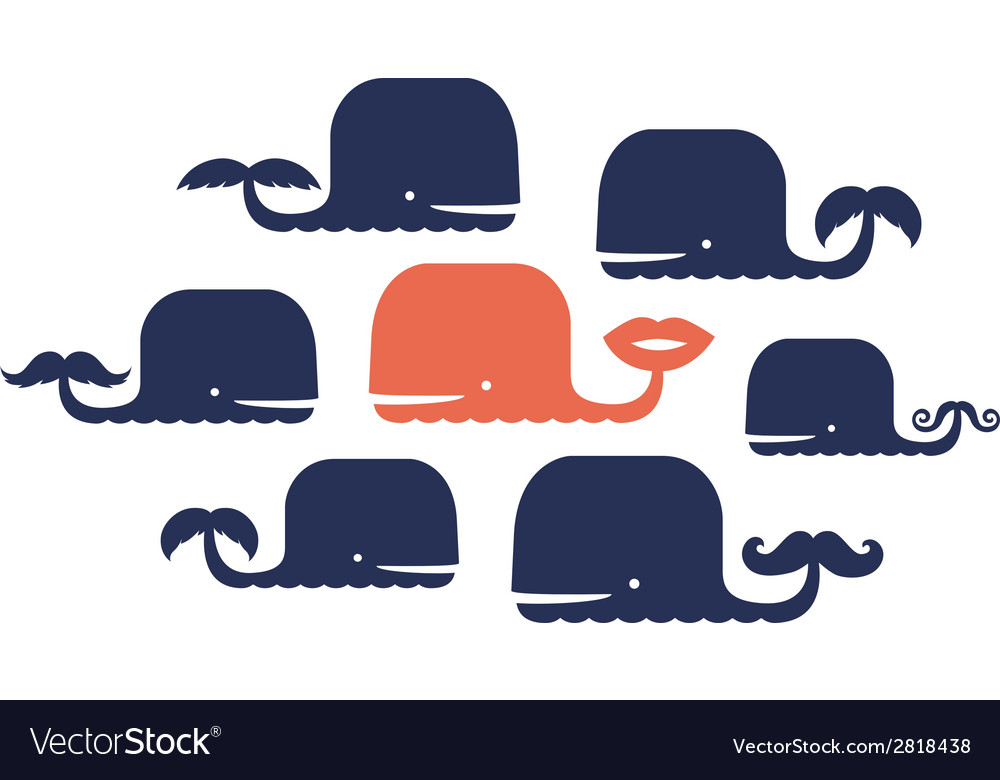 Design with cute whales vector