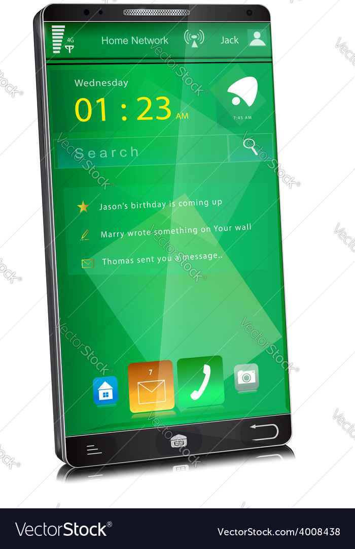 Mobile phone with thin display bezel vector | Price: 1 Credit (USD $1)