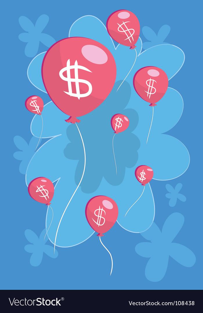 Money-balloon-float vector | Price: 1 Credit (USD $1)