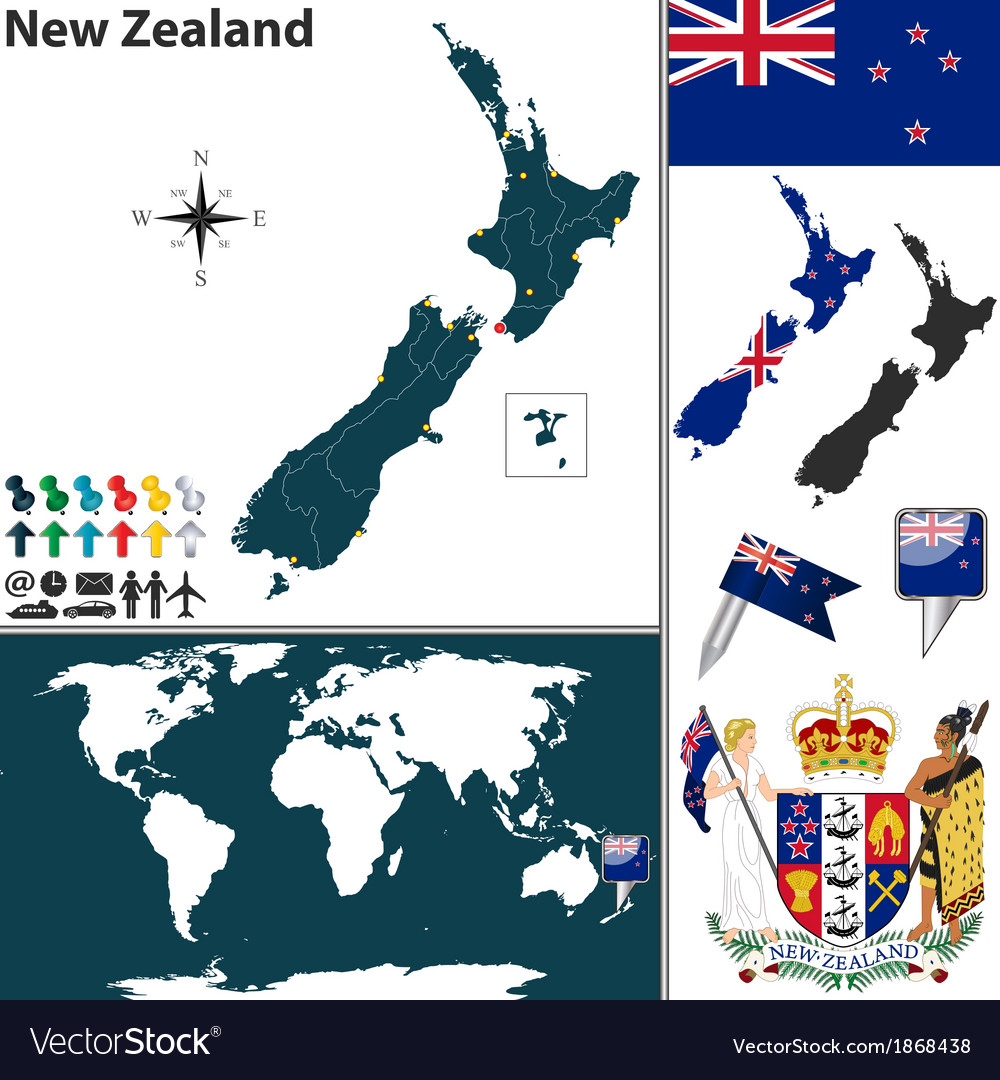 New zealand world map small vector | Price: 1 Credit (USD $1)