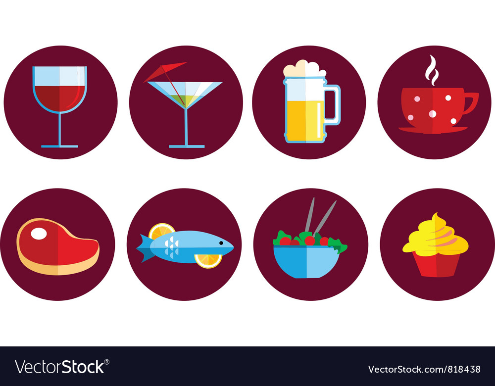 Set of food and drink icons vector | Price: 1 Credit (USD $1)