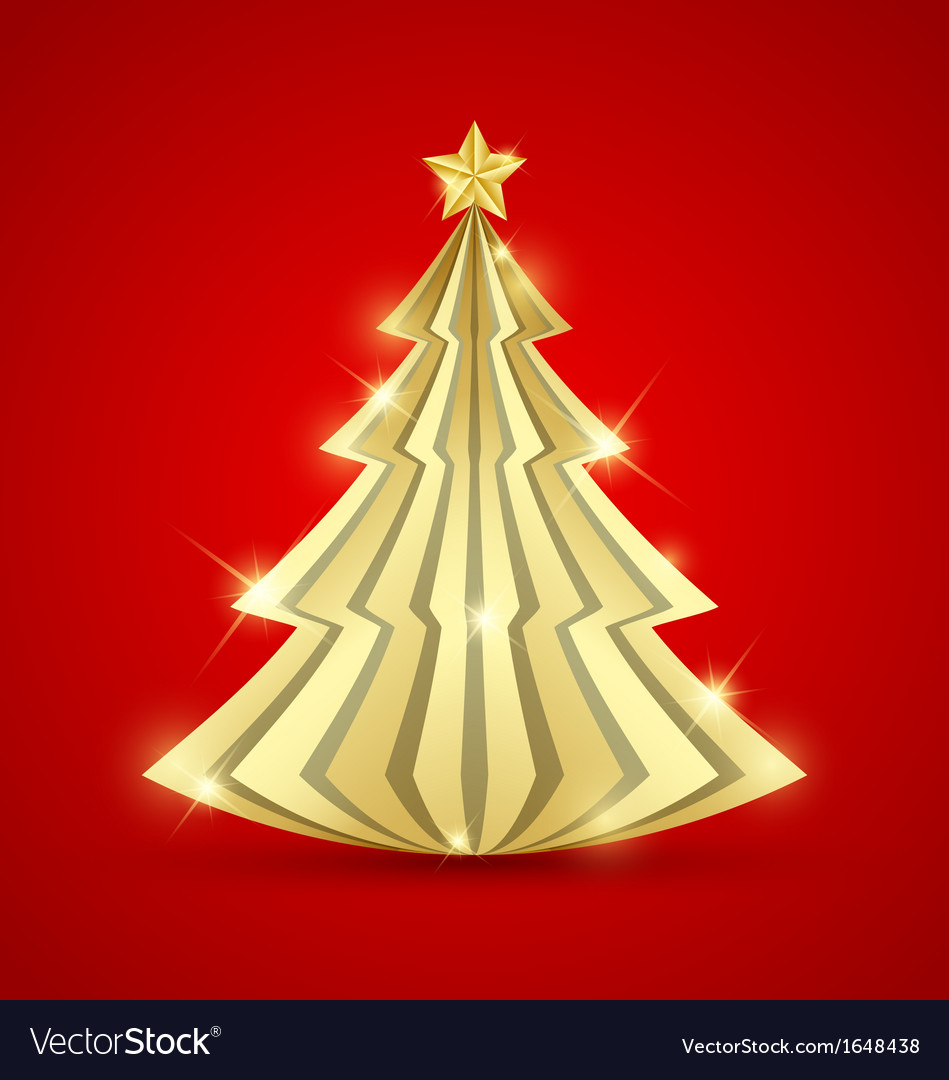 Simple golden christmas tree vector | Price: 1 Credit (USD $1)