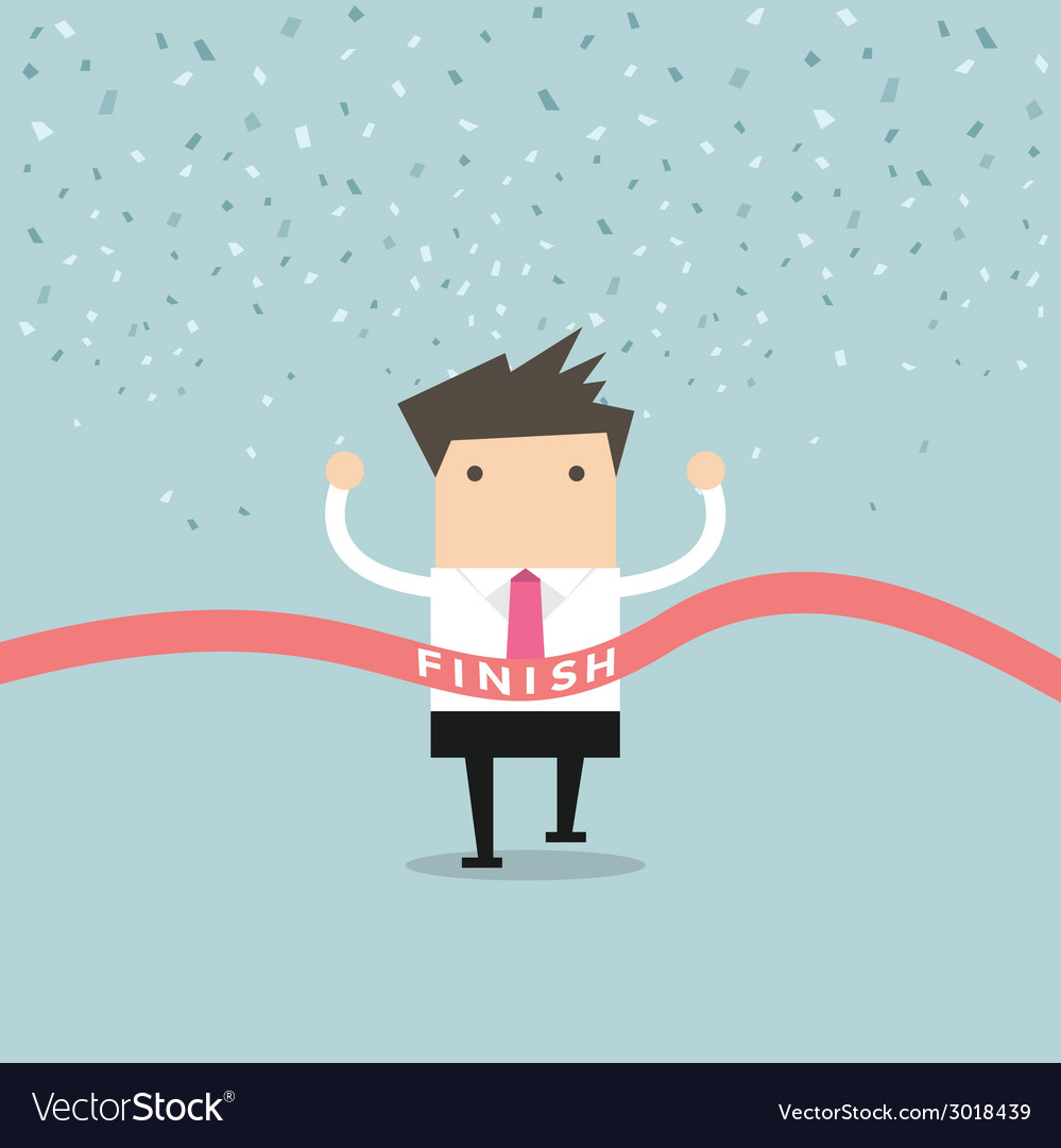 Businessman running success at the finish line vector | Price: 1 Credit (USD $1)
