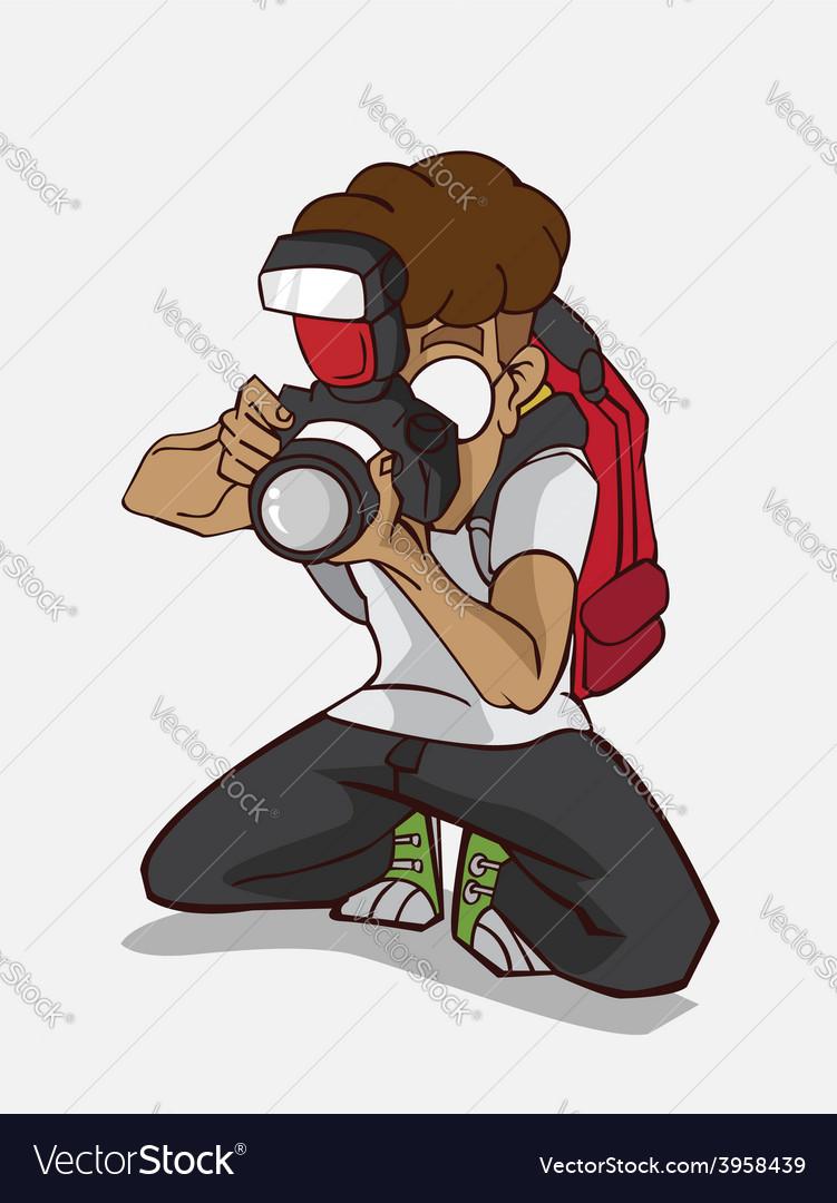 Cartoon character happy photographer vector | Price: 3 Credit (USD $3)