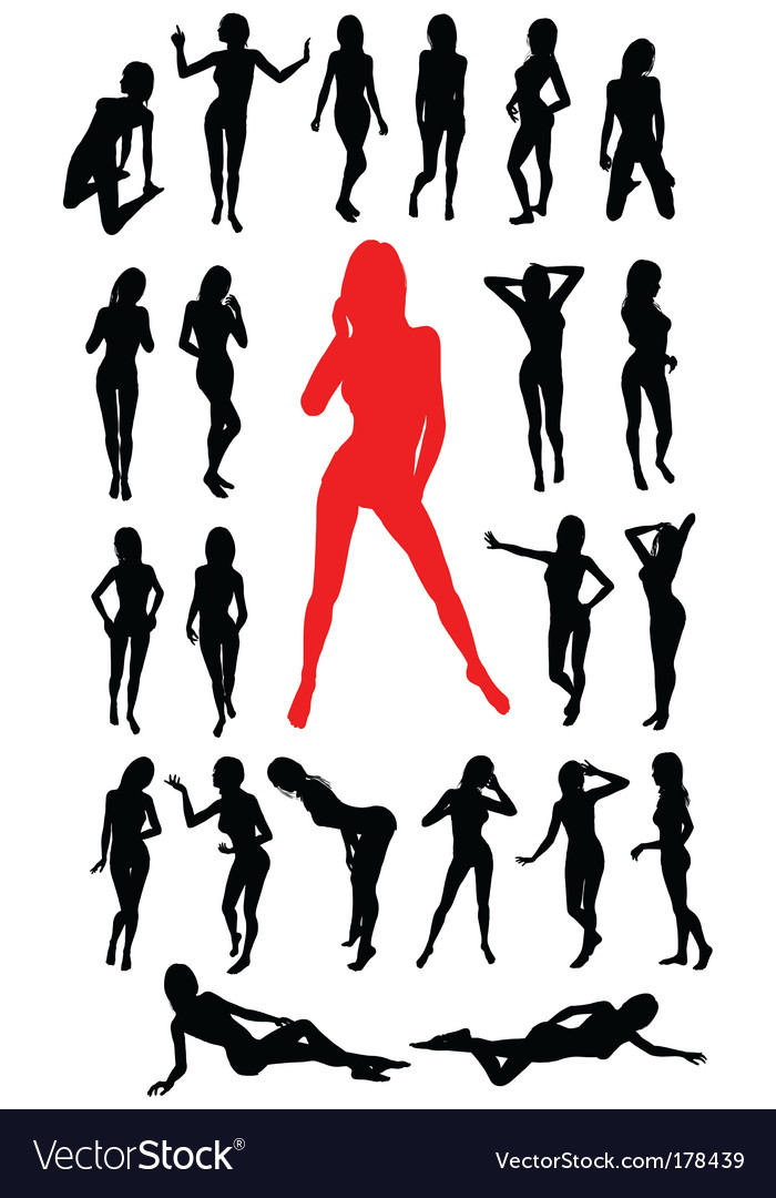 Girl silhouettes collection vector | Price: 1 Credit (USD $1)