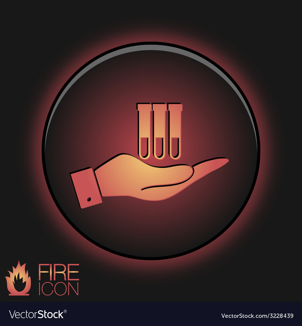 Hand holding a bulb or beaker symbol icon of vector | Price: 1 Credit (USD $1)