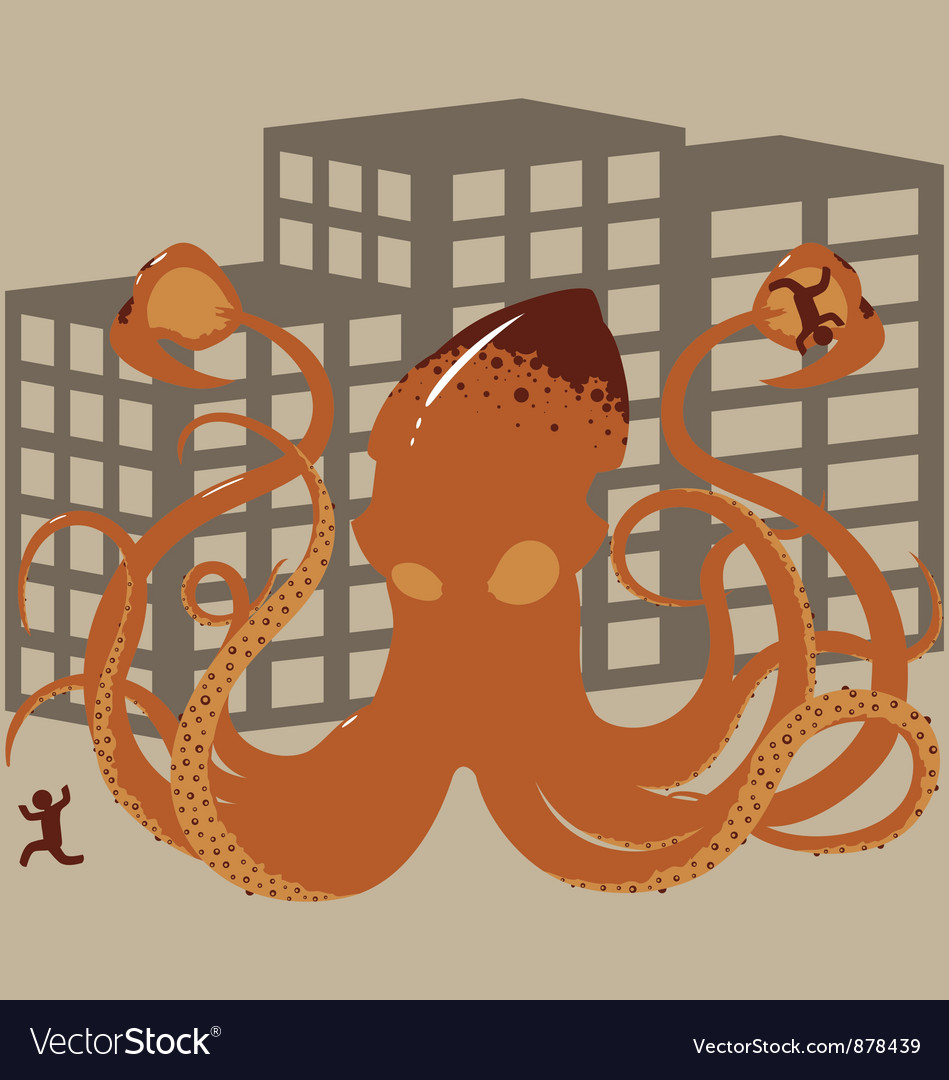 Rampaging giant squid vector | Price: 1 Credit (USD $1)