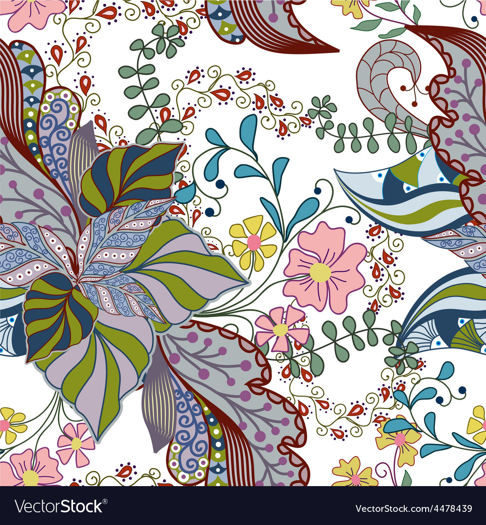 Seamless texture with ornate flowers and leaf vector | Price: 1 Credit (USD $1)