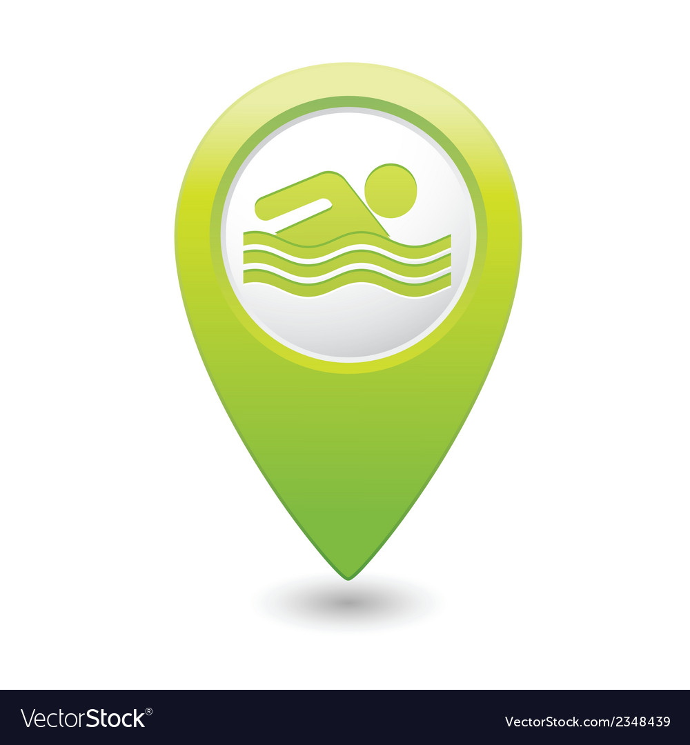 Swiming icon green map pointer vector | Price: 1 Credit (USD $1)