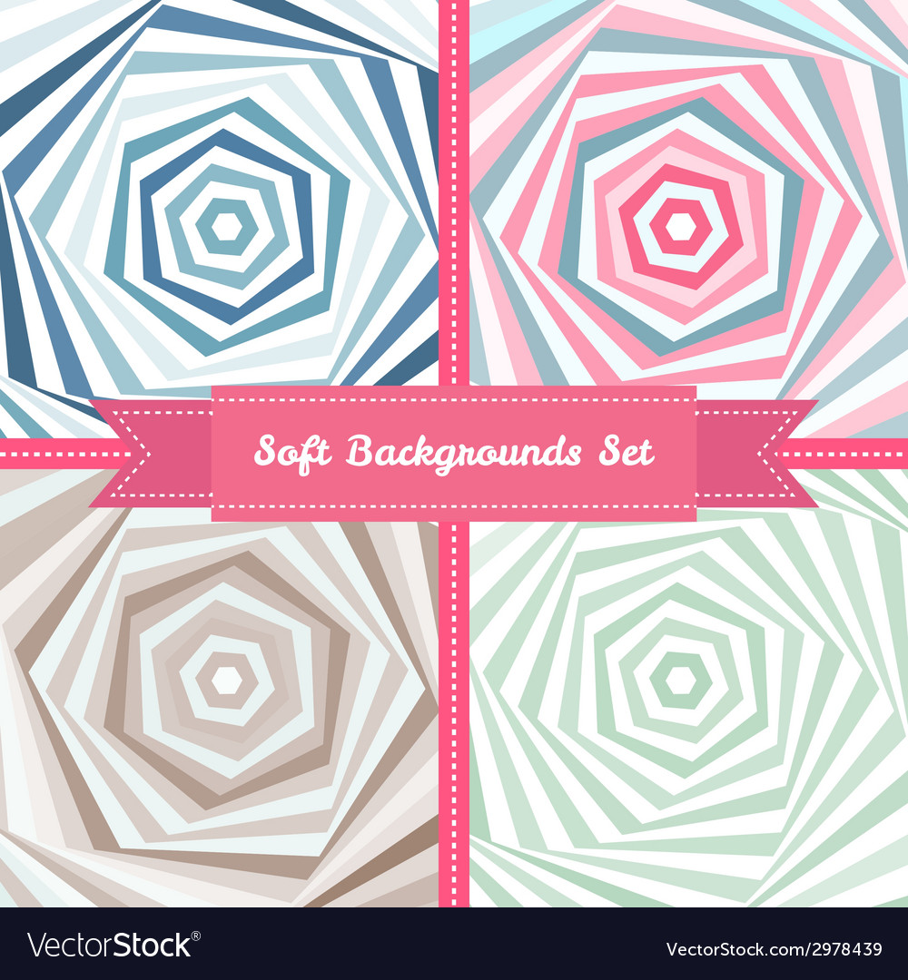 Vortex abstract backgrounds set in sweet pastel vector | Price: 1 Credit (USD $1)