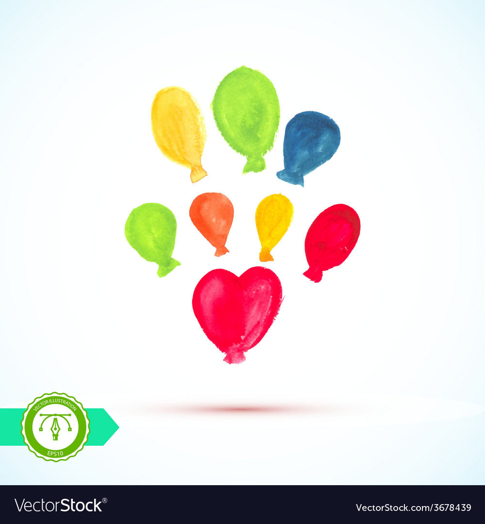 Watercolor balloons vector | Price: 1 Credit (USD $1)