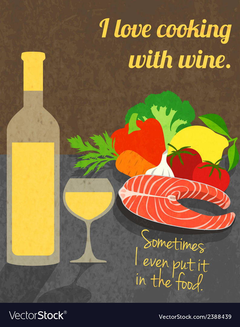 Wine cooking poster vector | Price: 1 Credit (USD $1)