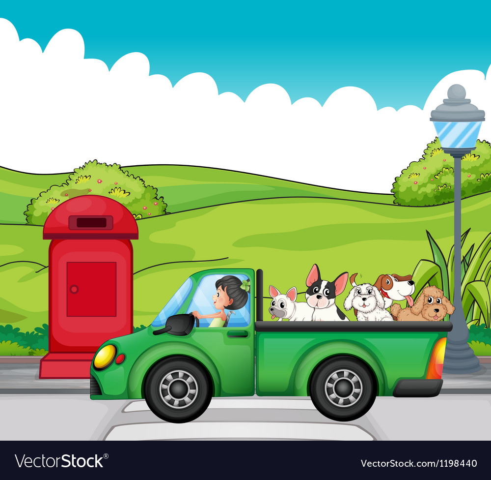 A green vehicle with dogs at the back vector | Price: 1 Credit (USD $1)