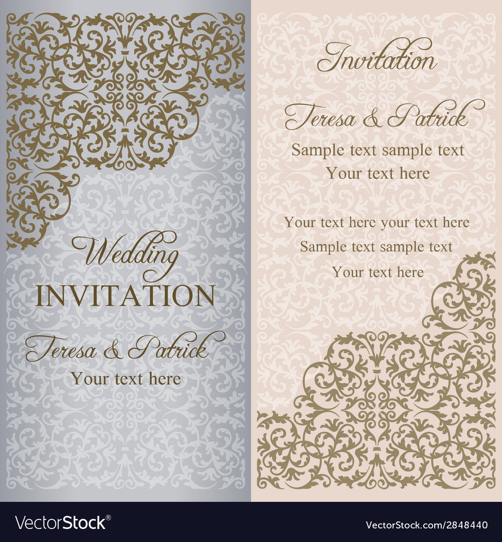 Baroque wedding invitation patina vector | Price: 1 Credit (USD $1)
