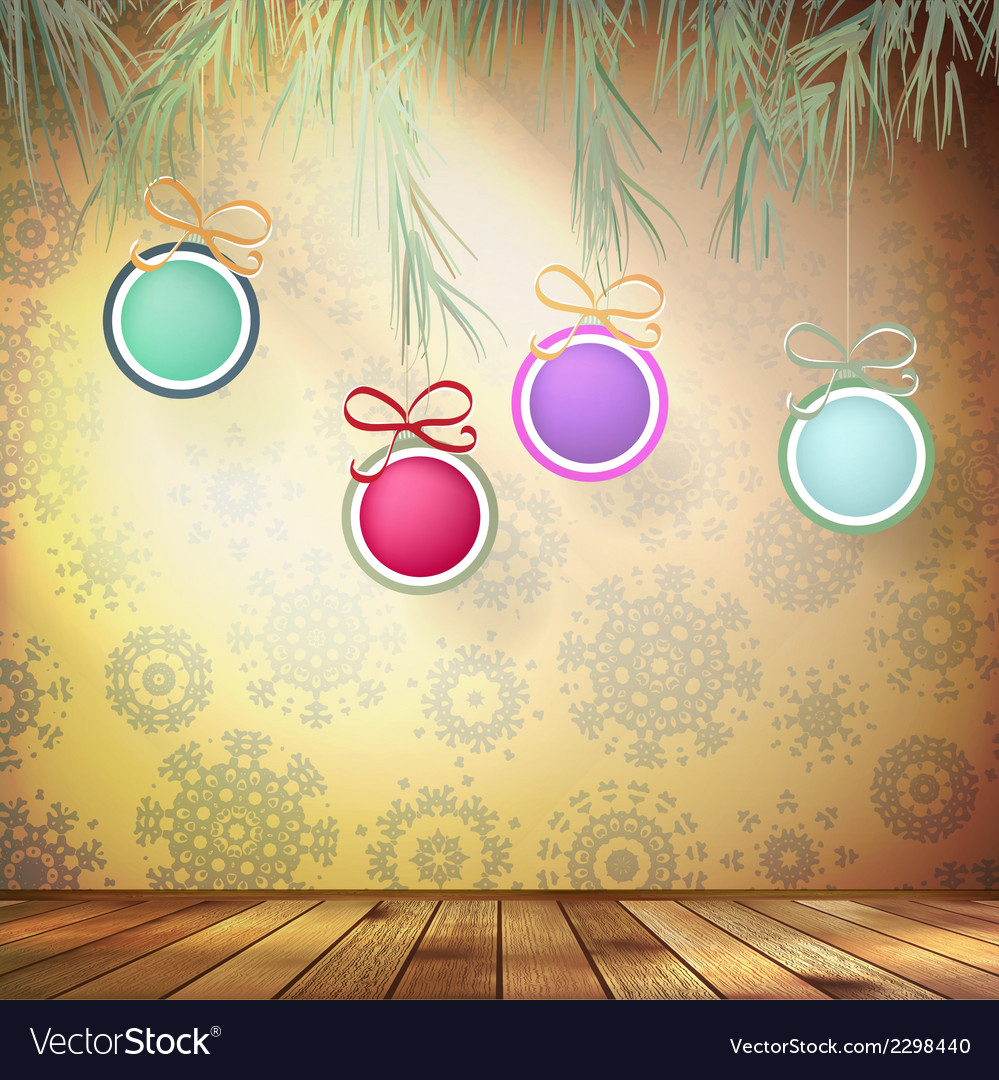 Christmas fir tree with decoration eps 10 vector | Price: 1 Credit (USD $1)