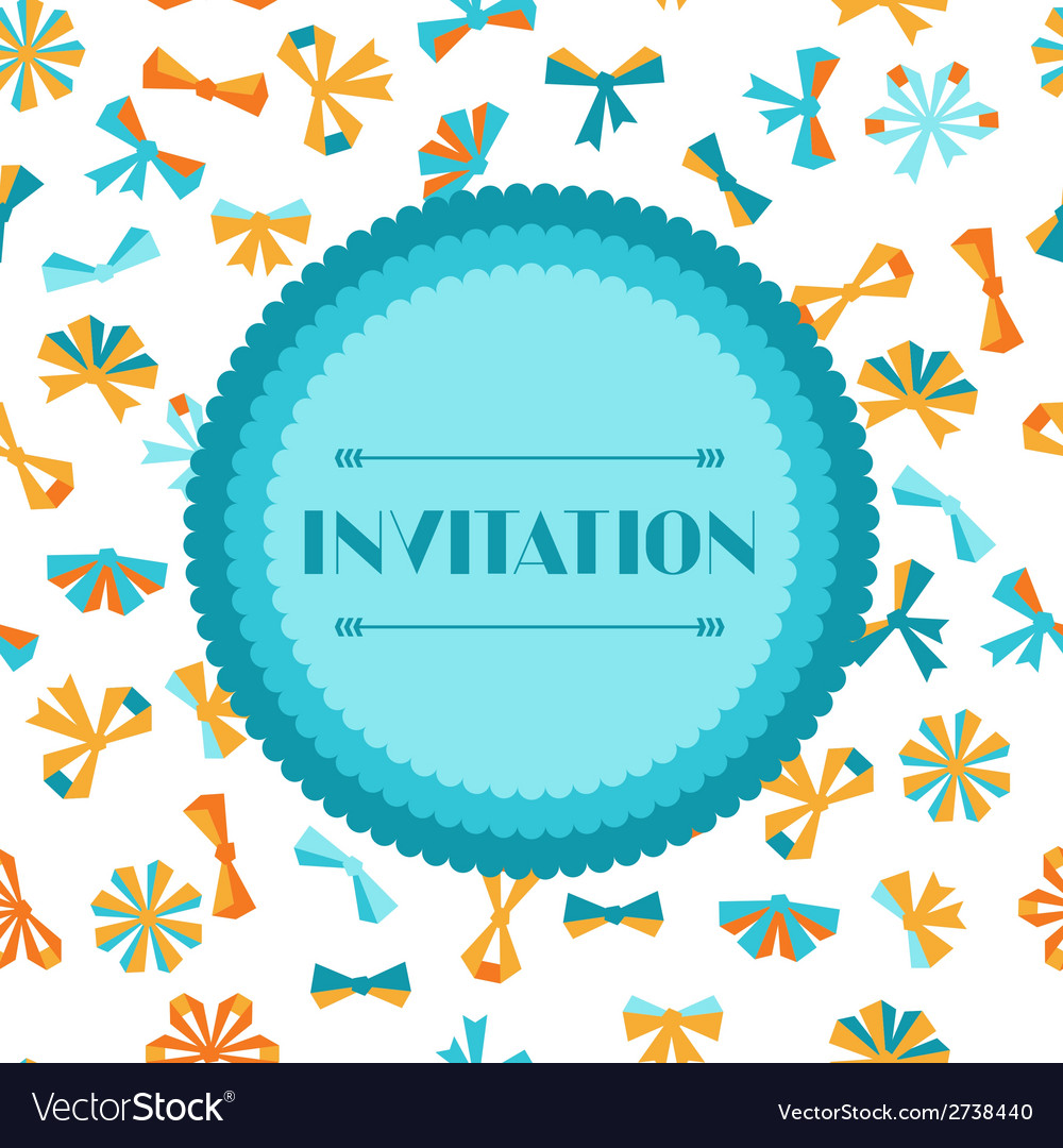 Invitation card with abstract various bows and vector | Price: 1 Credit (USD $1)