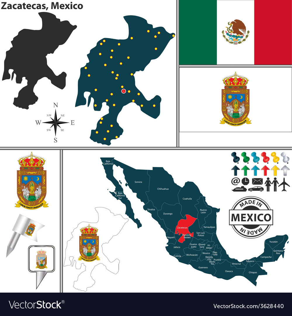 Map of zacatecas vector   Price: 1 Credit (USD $1)