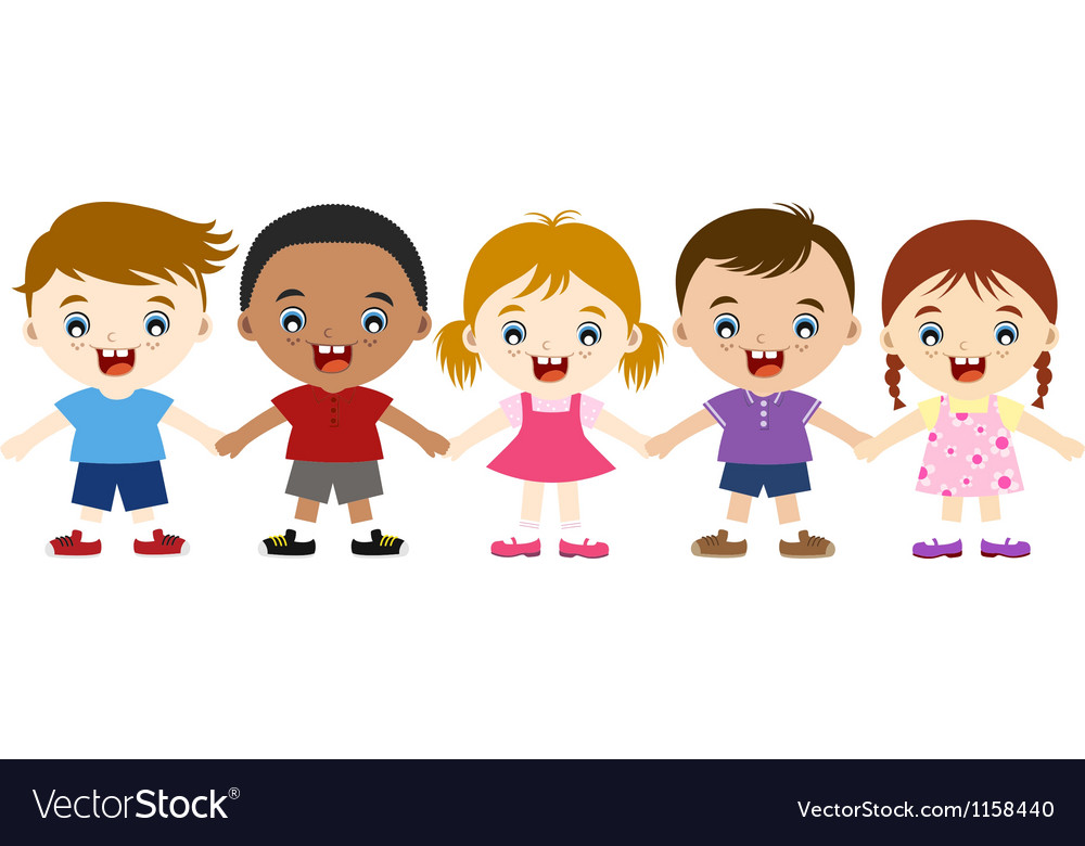 Multicultural children hand in hand vector | Price: 1 Credit (USD $1)