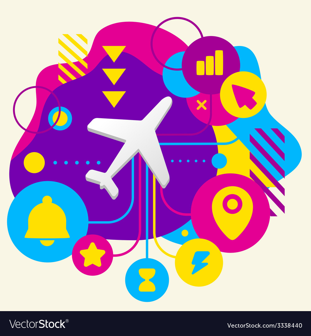 Plane on abstract colorful spotted background with vector | Price: 3 Credit (USD $3)