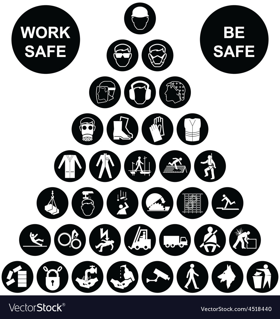 Pyramid health and safety icon collection vector
